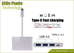 China Premium 4 Ports Aluminum USB Hub Type C USB 3.1 Hub Adapter for Phone and Macbook on sale