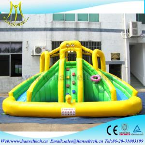 China Hansel PVC material kids water park games inflatable bouncers with water slide on sale