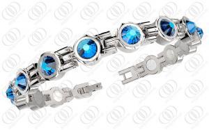 China Braceletes de aço inoxidável dados polimento brilhantes completos, braceletes magnéticos de aço azuis de Swarovski on sale