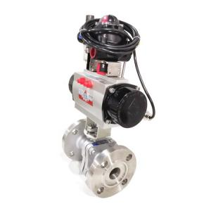 China Bw Flange Industrial Control Valves Pneumatic Actuated Ball Valve Soft Sealed on sale