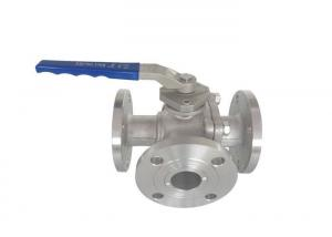 China 150lb Flanged Ball Valve T Port 3 Way L Port Ball Valve  With Handle Operate on sale