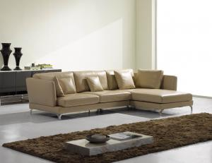 Quality Luxury Leather Sectional Sofas , Italian Style Leather Corner Sofa Bed Beige for sale