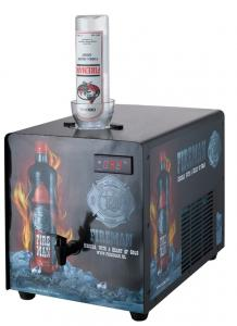 Quality Metal Case Single Bottle Shot Chiller Fast Cooling With Decorative Sticker for sale