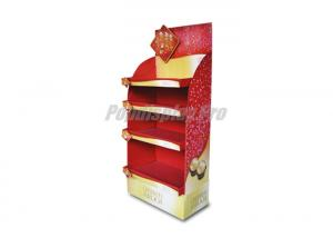 China Red Eco Friendly Cardboard POS Displays Floor Standing For Snacks on sale