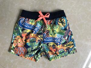 China 100%polyester baby's sea printed brief Swimwear brief board shorts on sale