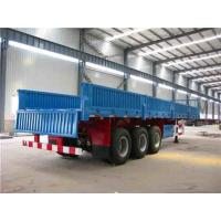 China 14T 3 Axle Flatbed Semi Trailer / cargo container trailer with side wall on sale