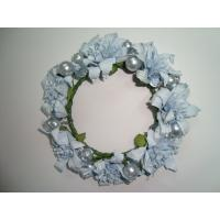 Christmas White Orchid Artificial Ddecorative Flowers Garlands with Silver Pearl