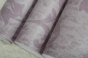 China European Flower Flocking Wall Paper , Nonwoven 53cm Width on sale