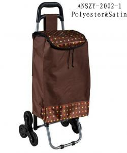China STB 6 Wheels Trolley Shopping Bag Easy For Stair Climber, Zipper Pockets Back Side on sale