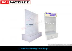 China Double Sided Supermarket Display Shelf , Grocery Store Fixtures Slat Panel Backing on sale