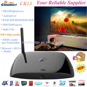 China Built in XBMC 14.0 RK3288 quad core CR13 3D blue-ray android 4.4 media player 2G/16G With  Camera TF card HDMI Tv Box on sale