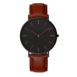 China Professional Dark Brown Mens Wrist Watch Leather Straps Japanese Quartz on sale