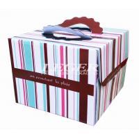OEM Corrugated Cardboard Boxes , Custom Birthday Cake Box with carry handles