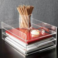 Clear desk top Acrylic Storage Boxes , 2 tier acrylic file holder