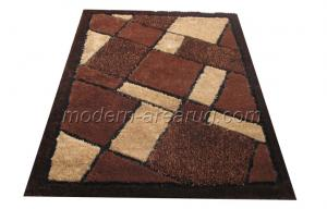 China Customized Brown Polyester Patterned Shaggy Rugs, Modern Contemporary Area Rug on sale