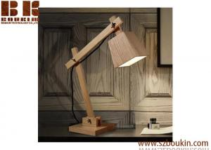 China 3d modern fashionable wood led table lamp for warm light bedside lamp on sale