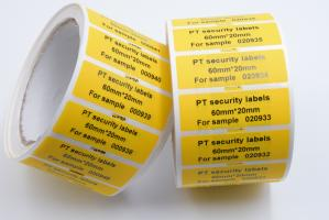 China PET Film Security Seal Total Transfer Tamper Evident Label Material on sale