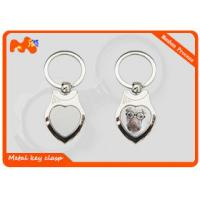 China Heart Shape Engraved Photo Keyrings / Logo Printed Custom Engraved Keychains on sale