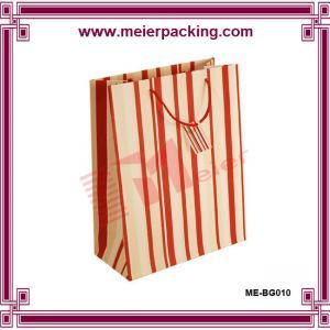 China Stripe color kraft shopping bag/custom apparel & clothing paper bag ME-BG010 on sale