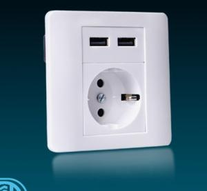 China Wall Mounted USB Charging Socket Anti Electric Shock With Double Interfaces on sale