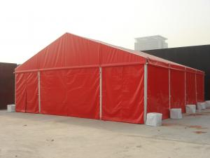 China 10 M Luxury Wedding Tents Red Roof And Side Walls With Out Windows on sale