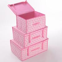 China Household  Clothing Non Woven Storage Boxes with Lid Large Pink Essential on sale
