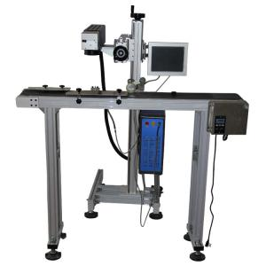 China 0.15mm Minimum Character Flying Laser Marking Machine 20 Watt for pvc on sale