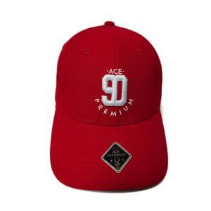 China Cute Red Custom 3D Embroidery Baseball Caps 100% Cotton Twill Material on sale