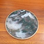 Aquatic Moss 80mm Round  Agate Slice Coasters