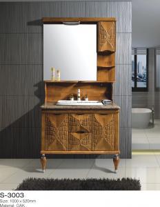 China Brown Solid Wood Bathroom Vanity , Mirrored Bathroom Vanity With Sink Floor Mounted on sale