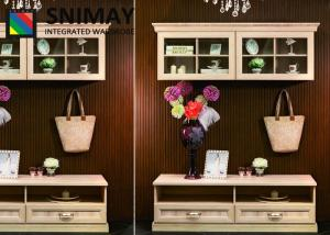 China Television Furniture Modern Wall Units Wooden TV Stand With Drawers , Glass Door on sale