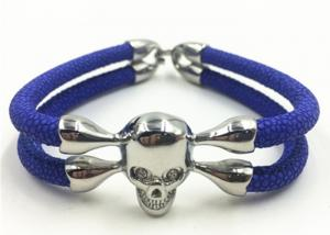China Stainless Steel Skull Bracelet , Mens Leather Cuff Bracelets With White Zircon on sale