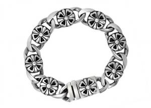 China Clover Stainless Steel Bangle Bracelets , Enameled Stainless Steel Magnetic Bracelets on sale