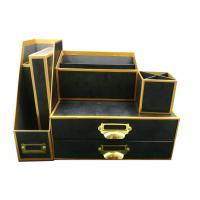 OEM Office Supplies eco-friendly black and gold-rimmed  Paper Cardboard 6 pcs desk organizer set storage set