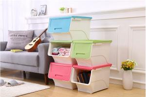 China PP plastic open lid stackable storage box home storage for clothings new style of box on sale