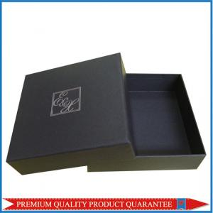 China Silver Hot Stamp Logo Print Matte Black Paper Gift Packaging Box Lid & Base on sale