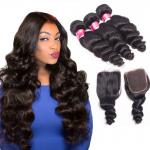 3 Bundles With A Closure Indian Remy Human Hair Extensions 3.5OZ Weight