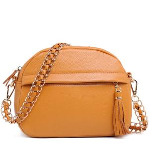 China Wholesale Brown Leather Crossbody Bag Small Size with Chain Strap on sale