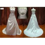 OEM / ODM Elegant A - Line Halter Satin Real Sample Wedding Dresses with Beadings