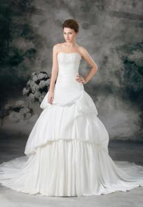 China New 2014 Fashionable Taffeta Ruffle Applique Strapless Mermaid Wedding Dresses Gowns on sale