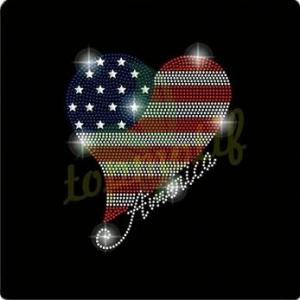 China Manufacturer Heart With American Flag design Hotfix Rhinestone Custom design for T-shirt on sale