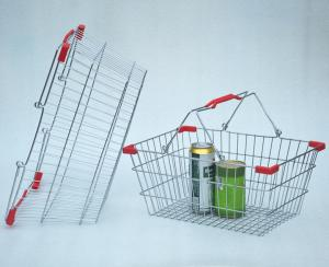 China Chrome Plated Supermarket Wire Baskets Wire Shopping Basket For Grocery Store on sale
