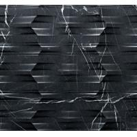 China Natural Marble 3d Black Marquina sculptural wall art panel on sale