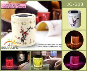 China Vintage Transparent Ceramics Solar Powered Night Light Color Changing on sale