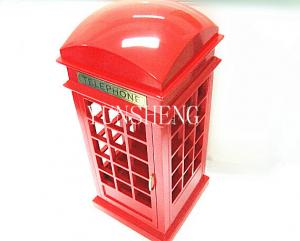 China Red Hand Craft Wooden Britsh Telephone Booth Music Box Christmas Gift Musical Box (LP-34A) on sale