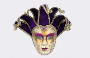 China Traditional Horns Made Jester Masquerade Mask / Venetian Face Masks on sale