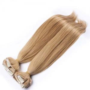 China Brazilian Straight Clipped In Hair Extensions Golden Blonde For Woman on sale