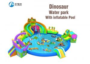 China Commercial Grade Giant Toddler Inflatable Slide Dinosaur Kingdom Slide With Pool on sale
