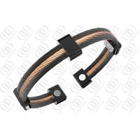 316L Mens Stainless Steel Bangle Bracelets Black and Rose Gold Two Tone Steel Cables