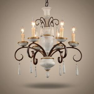 China Antique Rustic wood and iron chandelier (WH-CI-29) on sale